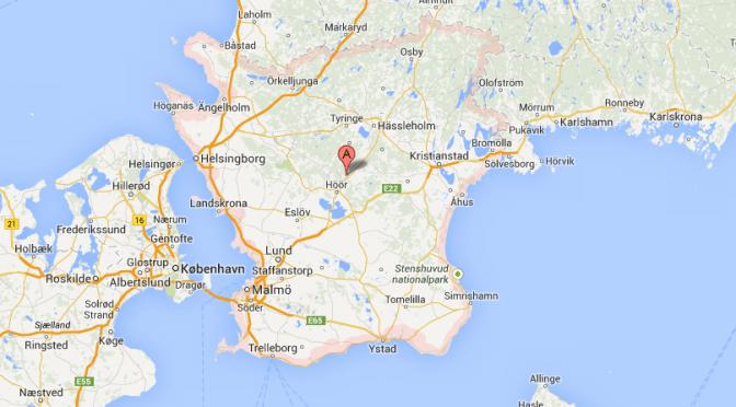 Karta på Skåne län